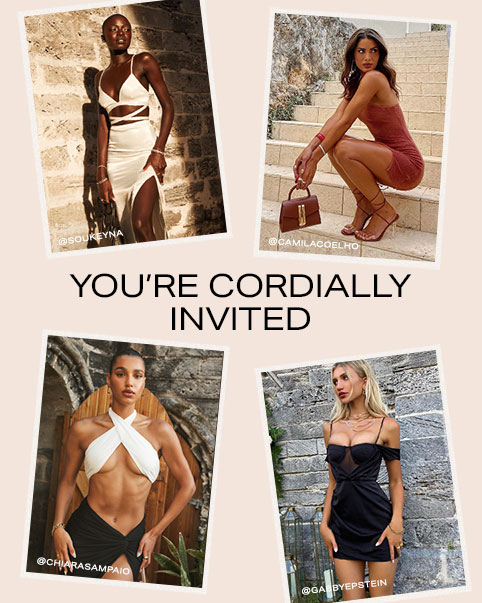 SouKeyna Diouf standing in front of a brick wall wearing a white bralette with a criss-cross waist and matching maxi skirt with a side slit. Camila Coelho crouching on a set of stairs wearing a pink one shoulder mini dress, brown strappy heels, and holding a brown bag. Chiara Sampaio Diwald standing in front of a brick doorway wearing a white halter bralette and a black maxi skirt with front slit. Gabrielle Epstein standing in front of a brick doorway with flowers wearing a black off the shoulder mini dress. You're Cordially Invited. Shop the Edit.