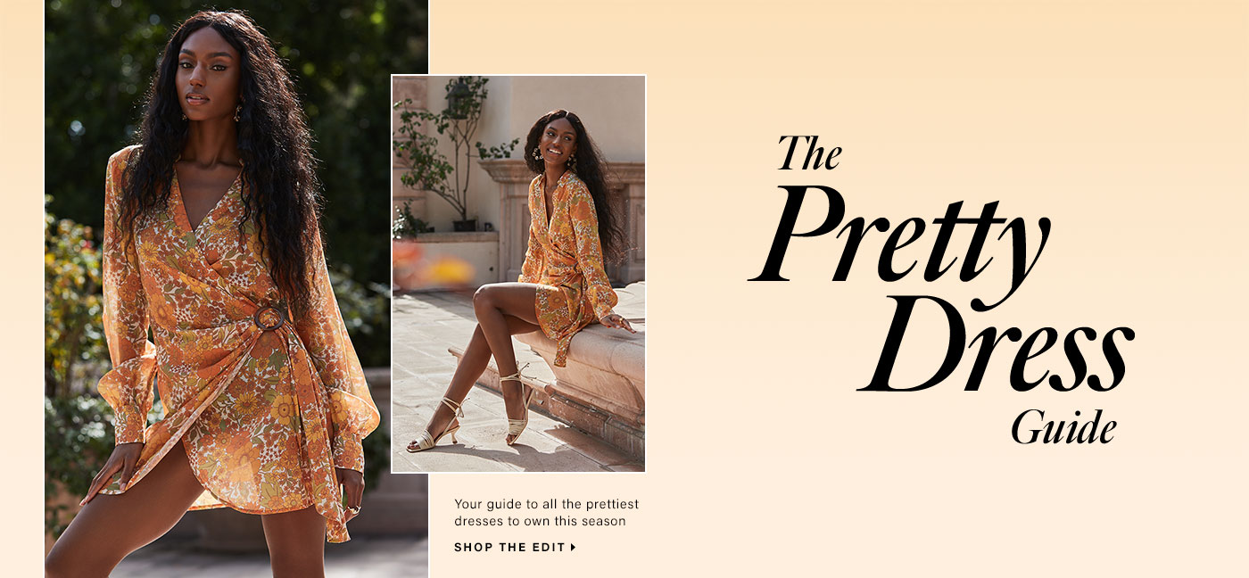 A model standing in front of greenery wearing an orange floral print long sleeve mini dress with wrap styling and a ring detail. A model sitting outside wearing an orange floral print long sleeve mini dress with wrap styling and a ring detail and cream colored strappy sandals. The Pretty Dress Guide. Shop the Edit.