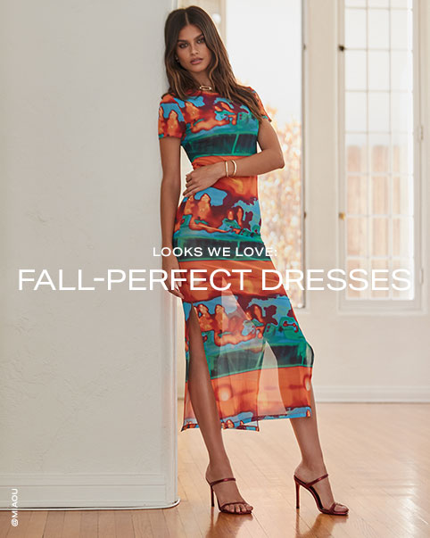 Two photos of a model wearing an orange, blue and green short sleeve midi dress. Looks We Love: Fall-Perfect Dresses. Shop the Edit.