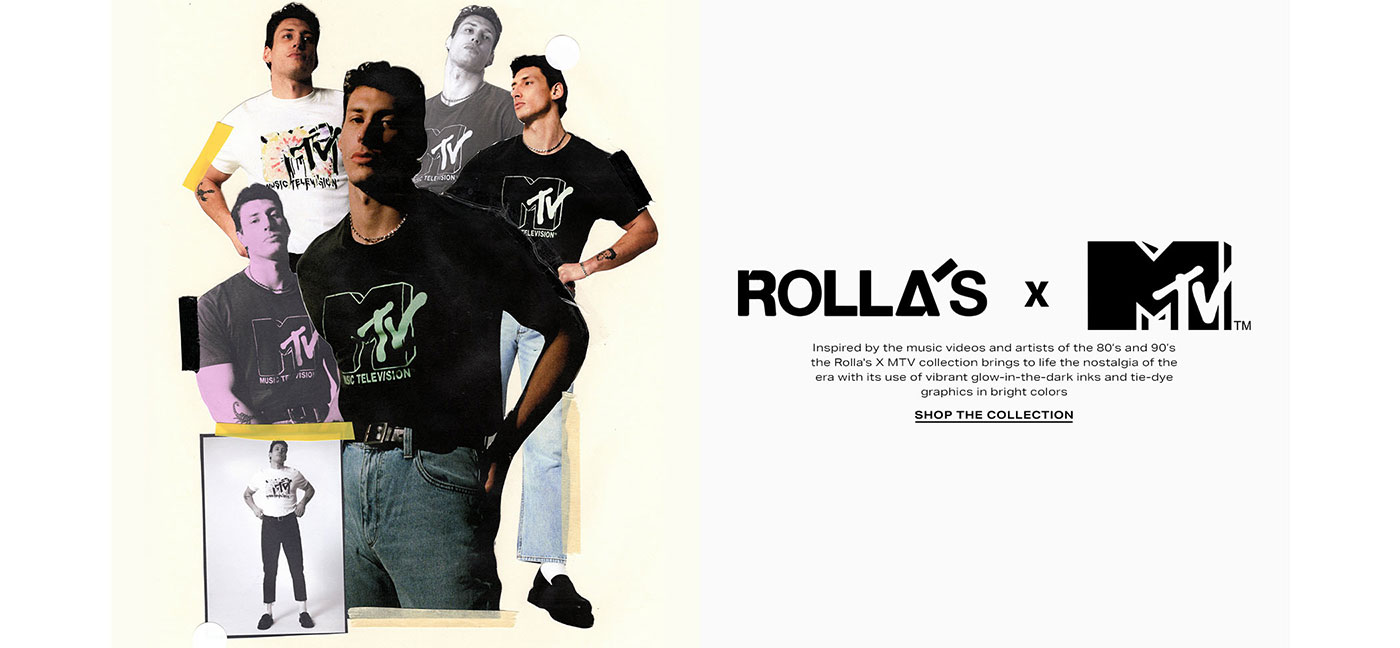 Inspired by the music videos and artists of the 80\u2019s and 90\u2019s the Rolla\'s X MTV collection brings to life the nostalgia of the era with its use of vibrant glow-in-the-dark inks and tie-dye graphics in bright colors. Shop The Collection
