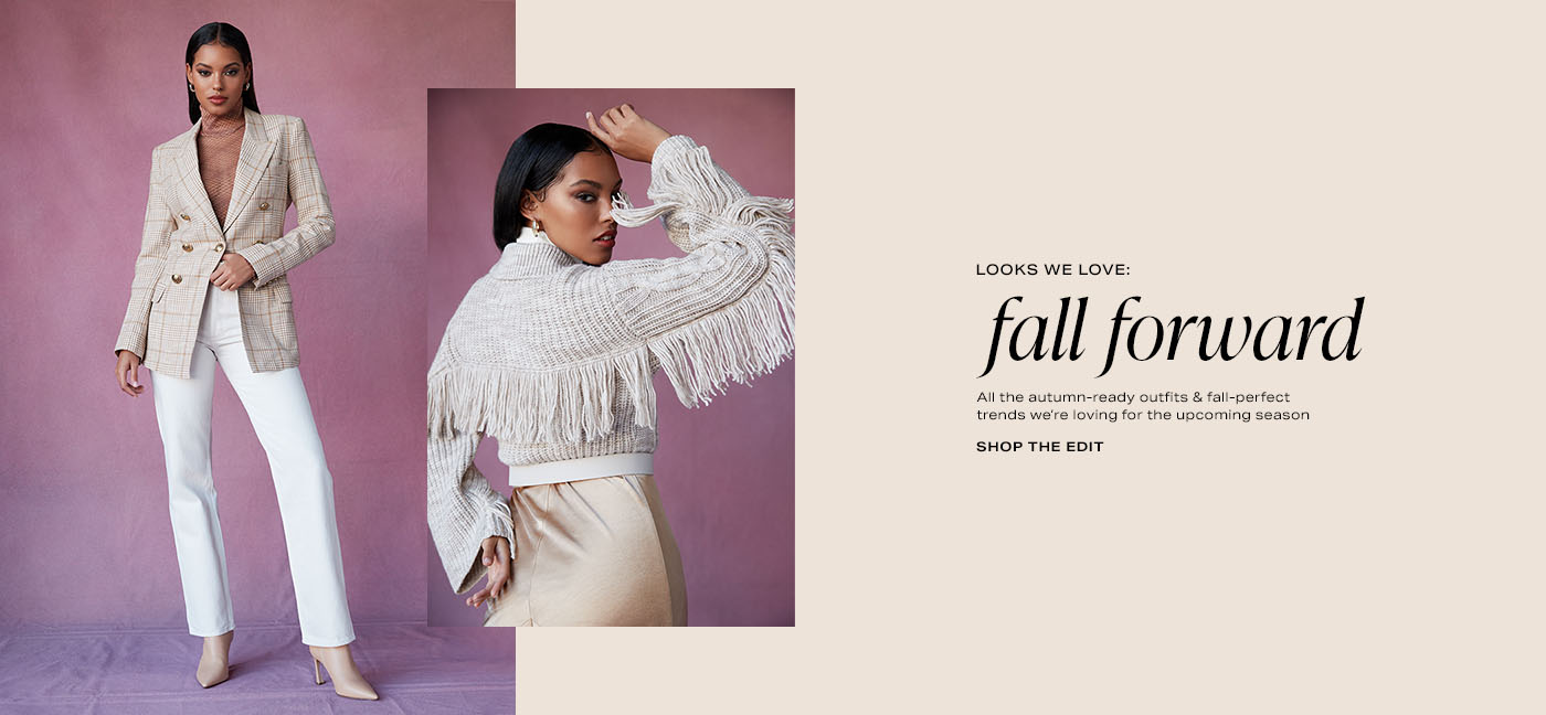 A model wearing a brown turtleneck top, a beige plaid blazer, white pants, and beige boots. A model wearing a beige sweater with fringe trim and tan bottoms. Looks We Love: Fall Forward. Shop the Edit.