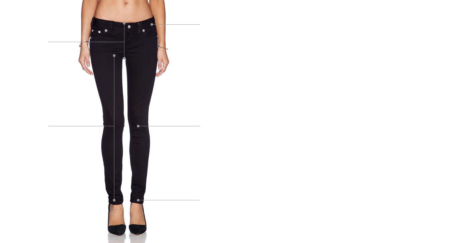 woman in black jeans with tooltips on how to measure denim or pants